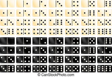 Domino - Set of black and white domino games