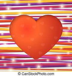 Greeting card made from bundle of bright laces with red heart cut through the paper. F