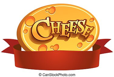 Dairy Products - Red banner with cheese on a white...