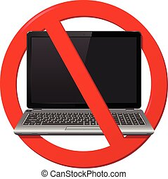 No Laptop Area, warning sign, vector illustration