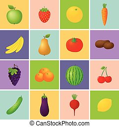 Fruits and Vegetables Icons - 16 colorful fruits and...