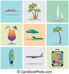 Travel, vacation, holiday. Icons. Elements for design. -...