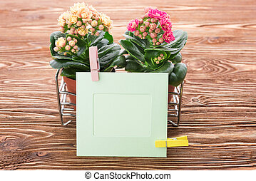 card and flowers on a wooden background