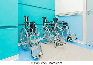 Wheelchairs arranged in the hospital
