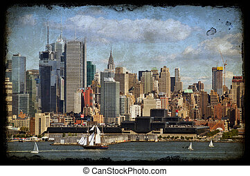 new york city old large sailing ship in hudson - grunge new...