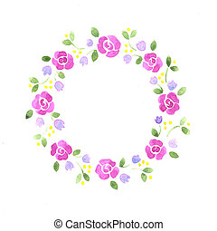 Watercolor decorative floral element on a white background