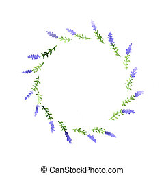 Watercolor floral decorative element on a white background