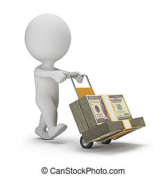 3d small people - money truck - 3d small person carrying...
