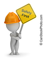 3d small people - safety first - 3d small person holding a...