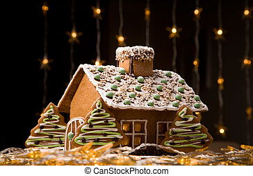 Gingerbread house - Beautiful gingerbread house with lights...