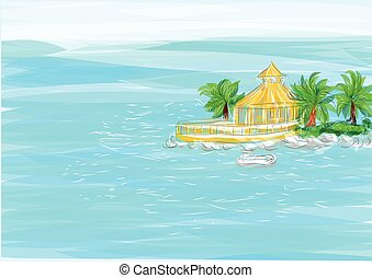 jamaica. ocean and abstract coast with house and palm