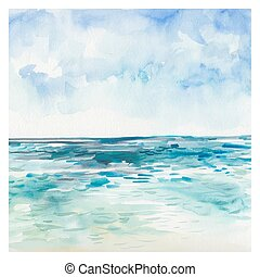 Watercolor Sea background. Hand drawn painting. Summer...
