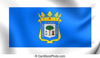 Flag of Huelva City, Spane - 3D Flag of the Huelva City,...
