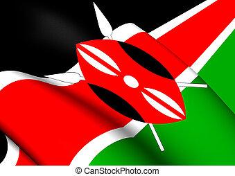 Flag of Kenya - 3D Flag of the Kenya. Close Up.