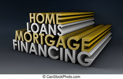Home Loans Mortgage Financing Concept in 3d