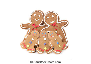 Gingerbread People With Mom, Dad and 3 Children - Family of...
