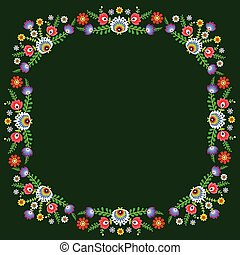 folk pattern - polish folk pattern flowers