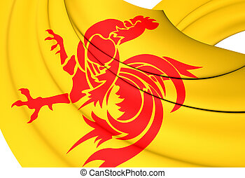 Flag of Wallonia, Belgium. - 3D Flag of the Wallonia,...