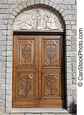 Door to Saint Anna Church in Arzachena Sardinia