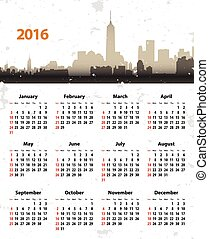 2016 year stylish calendar on cityscape grunge background -...