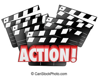 Action Movie Clapper Boards Acting Direction Producing Film...