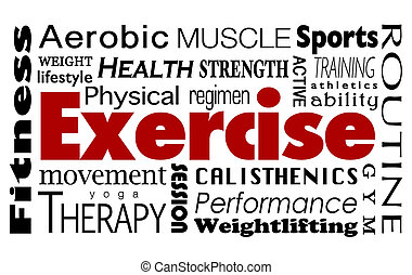 Exercise Word Collage Healthy Lifestyle Physical Fitness Regimen