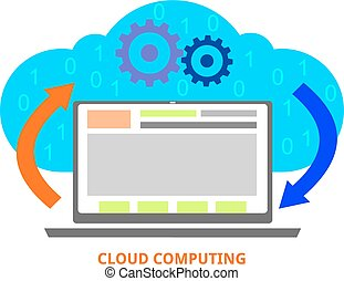 vector - cloud computing - An illustration showing a cloud...