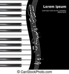 Piano illustration - Vector piano background with flying...