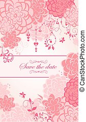 Beautiful pink floral vertical greeting banner