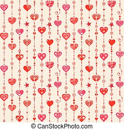 Funny wallpaper with hanging hearts