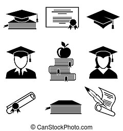 Graduation and education icons set. University and student,...