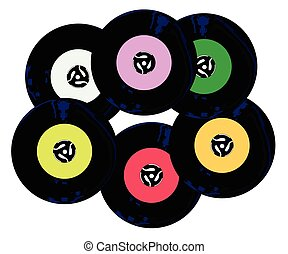 Singles Collection - A collection of 45 rpm records with...