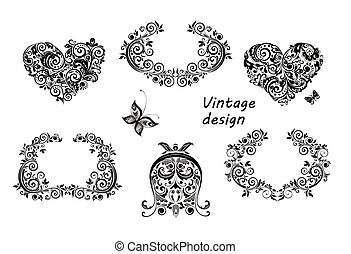 Vintage design floral hearts and frames