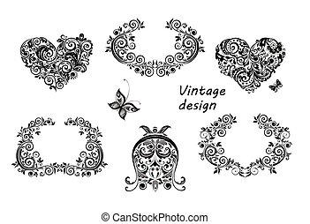 Vintage design floral hearts and frames