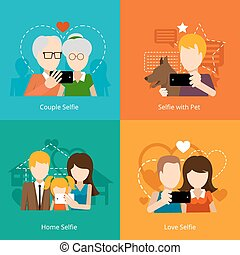 Vector selfie design concepts. Creative people, mobile...