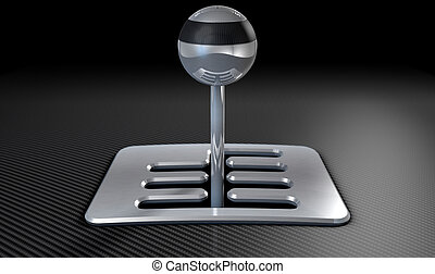 Steel And Chrome Stick Shift - A steel chrome and carbon...