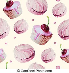 Sweet cake patten vector watercolor. Vector illustration....
