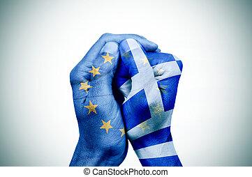 modelé, ensemble, Grec, drapeau, mains, mettre, européen