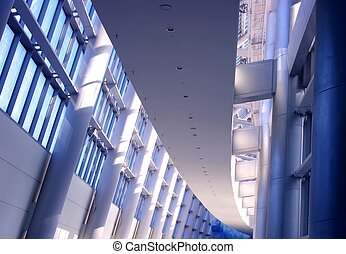 Futuristic Building Interior - A hallway inside a futuristic...