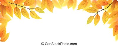 Autumn leaves frame - Autumn branches with leaves frame...