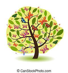 verde, árbol, con, mariposas,