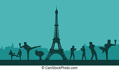 The group of men goes in for martial arts - savate in Paris