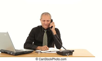 Productive Work - Businessman working in office and talking...