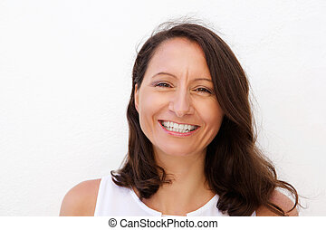 Smiling mid adult woman - Close up portrait of a smiling mid...