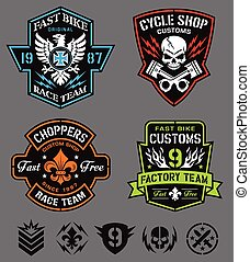 Motorcycle emblem set - Motorsport-inspired graphic emblem...