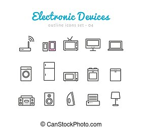 Electronic devices thin linear icons set for web and mobile...