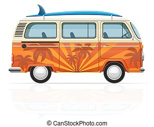 retro minivan with a surfboard vector illustration isolated...