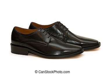 Black male shoes isolated  on the white