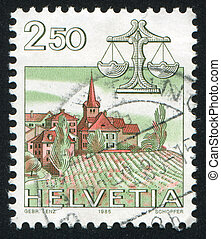 Libra - SWITZERLAND - CIRCA 1985: stamp printed by...