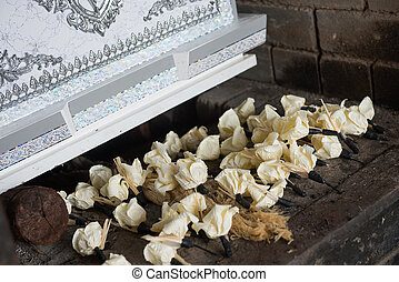 flower for Thai cremation in temple, death
